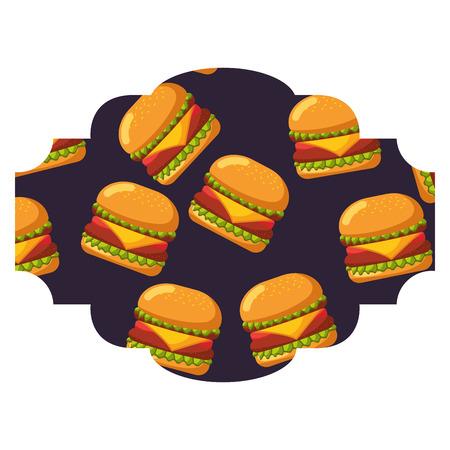 Rahmen mit Hamburger Muster Hintergrund Vektor-Illustration Design Standard-Bild - 92517050