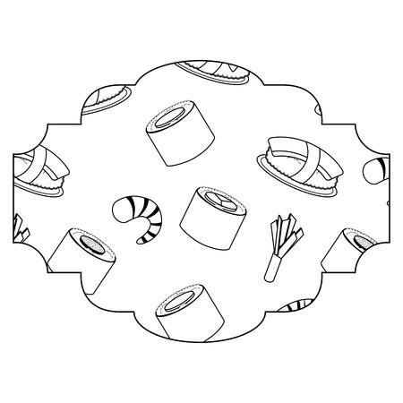 frame with sushi pattern background vector illustration design Illustration