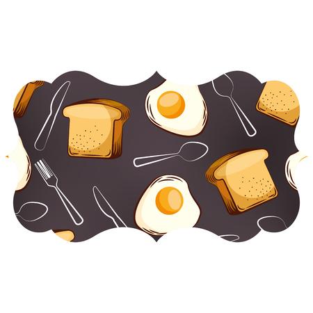frame met eieren en bestekpatroon achtergrond vectorillustratieontwerp