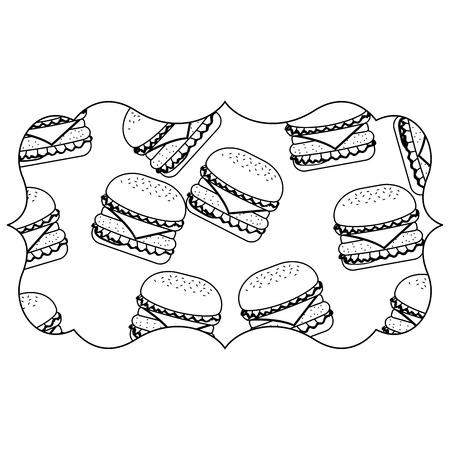 Rahmen mit Hamburger Muster Hintergrund Vektor-Illustration Design Standard-Bild - 92518967
