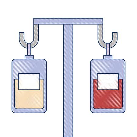 medicine and blood bags hanging vector illustration design Çizim