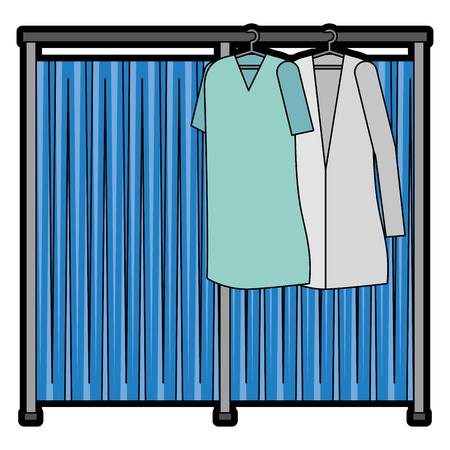 doctor and patient coats hanging icon vector illustration design