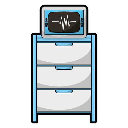 hospital operating drawer with ekg machine vector illustration design