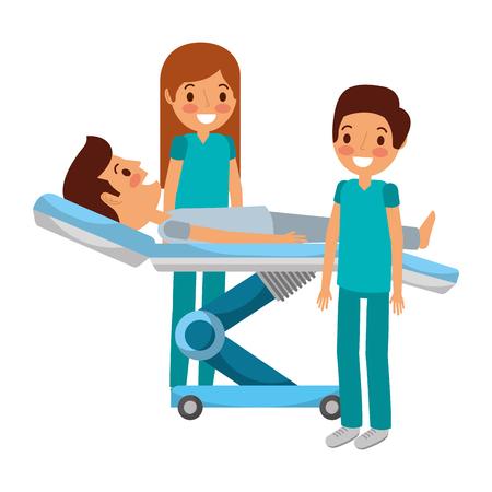 Dental stretcher with patient and professional medical vector illustration. Ilustração