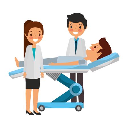 Zahnmedizinische Bahre mit geduldiger und professioneller medizinischer Vektorillustration. Standard-Bild - 92518981