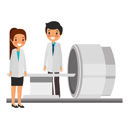 tomography scanner machine with medical professional vector illustration