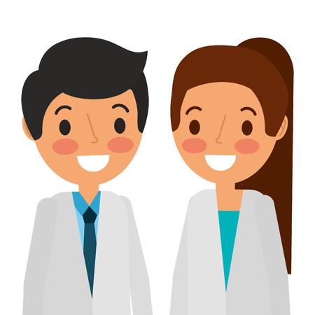 Doctors couple avatars characters Stock Vector - 92518225