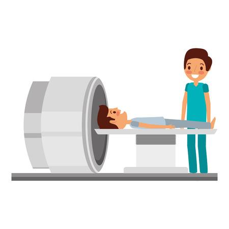 Tomographe scanner machine avec illustration vectorielle de patient et médecin Banque d'images - 92518177