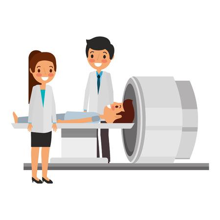 tomography scanner machine with patient and doctor vector illustration Ilustração