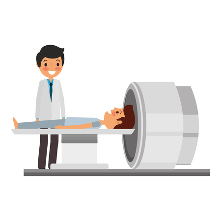 tomography 스캐너 기계 환자와 의사 벡터 일러스트와 함께 일러스트