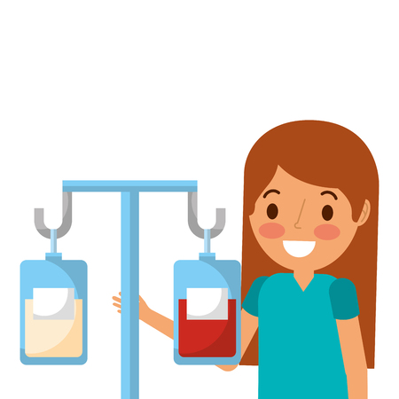 medicine and blood bags hanging with surgeon vector illustration design