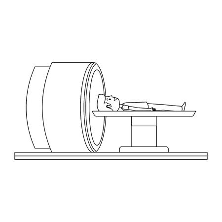 Tomography 스캐너 기계 환자 벡터 일러스트 디자인입니다.