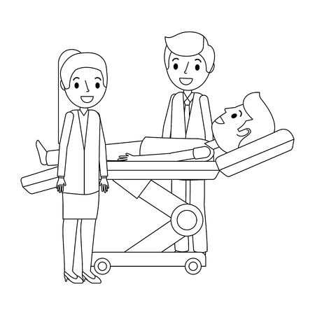 dental stretcher with patient and professional medical vector illustration 向量圖像