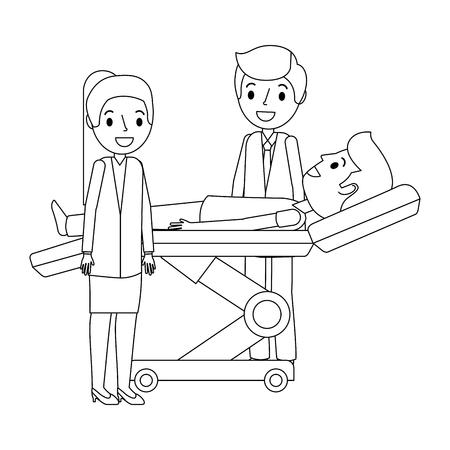 dental stretcher with patient and professional medical vector illustration Ilustração