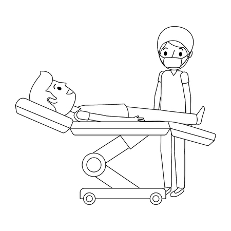 Dental stretcher with patient and professional medical vector illustration. Illustration