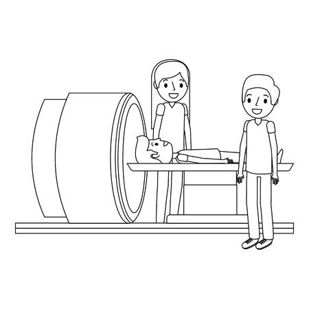 医療専門家のベクトルイラストを備えた断層撮影スキャナーマシン。