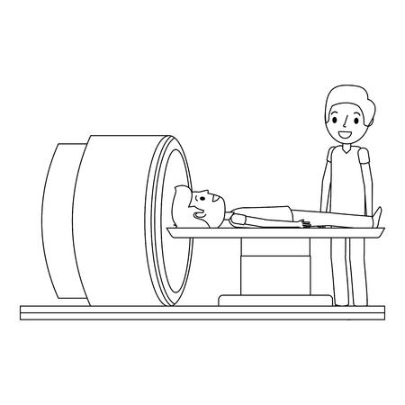 Macchina dell'analizzatore di tomografia con l'illustrazione di vettore di medico e del paziente. Archivio Fotografico - 92519069