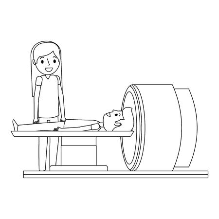Macchina dell'analizzatore di tomografia con l'illustrazione di vettore di medico e del paziente. Archivio Fotografico - 92519071