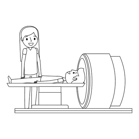 Tomografie scanner machine met patiënt en arts vectorillustratie. Stock Illustratie