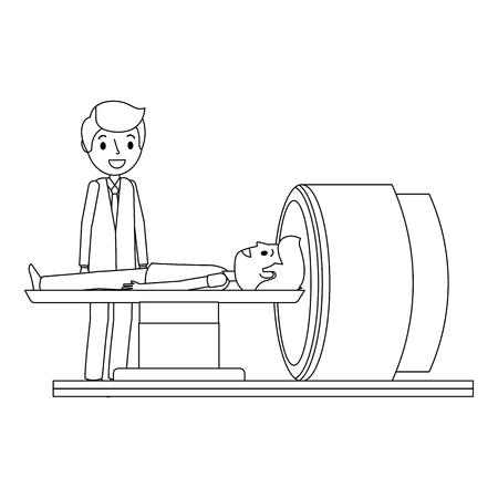 患者および医者のベクトルのイラストが付いている断層撮影のスキャナー機械