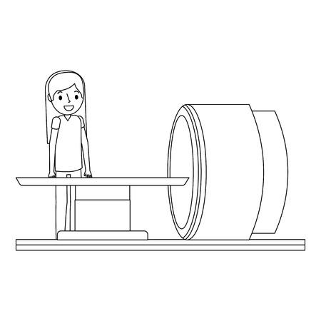 tomografie scanner machine met medische professionele vectorillustratie Stock Illustratie