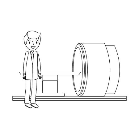 Machine scanner tomographie avec illustration vectorielle professionnel médical Banque d'images - 92518628