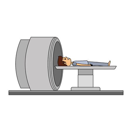 tomography scanner machine with patient vector illustration design