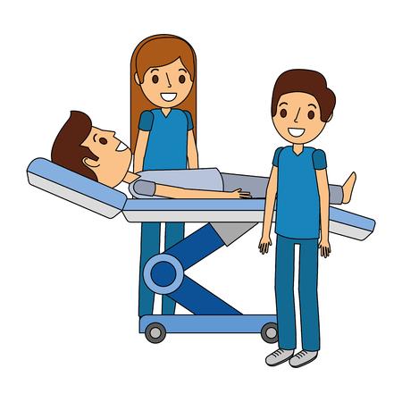 Dental Bahre mit Patienten und professionelle medizinische Vektor-Illustration Standard-Bild - 92518801