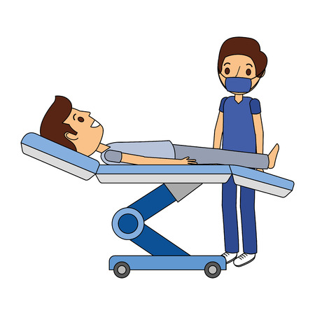dental stretcher with patient and professional medical vector illustration Illustration