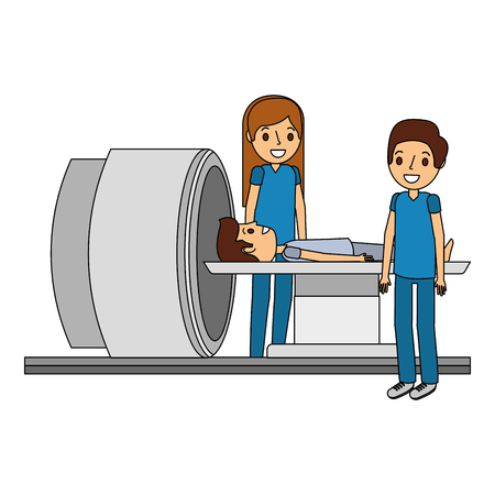 tomography scanner machine with patient and doctor vector illustration Ilustração