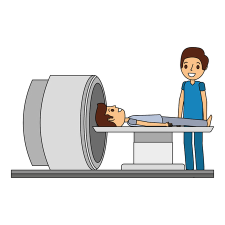 tomography scanner machine with patient and doctor vector illustration Stock fotó - 92518948