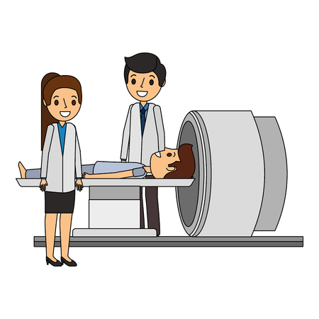tomography scanner machine with patient and doctor vector illustration Ilustrace