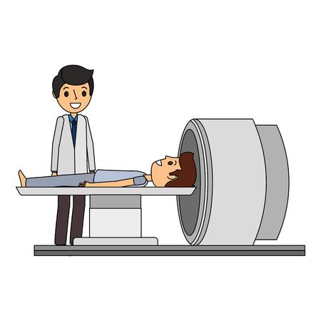 Macchina scanner tomografia con paziente e medico illustrazione vettoriale Archivio Fotografico - 92518950