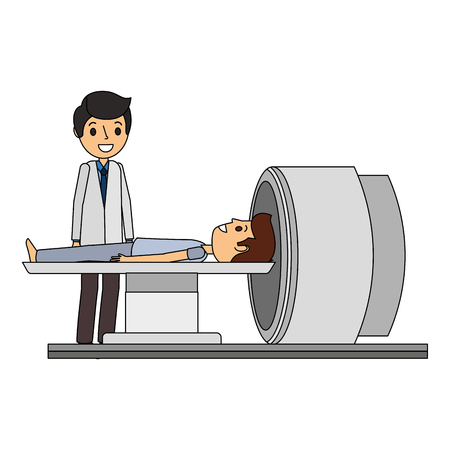 tomography scanner machine with patient and doctor vector illustration Illusztráció