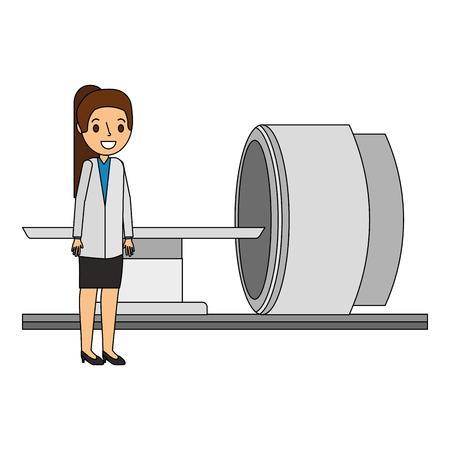 医療専門家ベクトルイラスト付き断層撮影スキャナーマシン  イラスト・ベクター素材