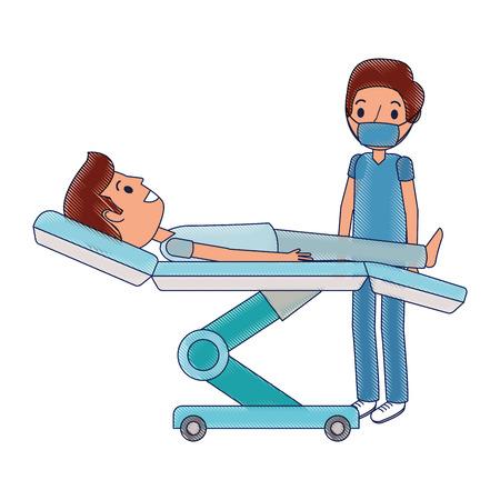 Dental Bahre mit Patienten und professionelle medizinische Vektor-Illustration Standard-Bild - 92604169