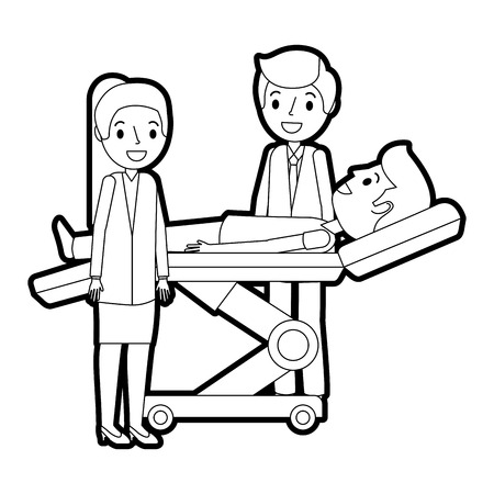 Dental stretcher with patient and professional medical vector illustration. Vettoriali