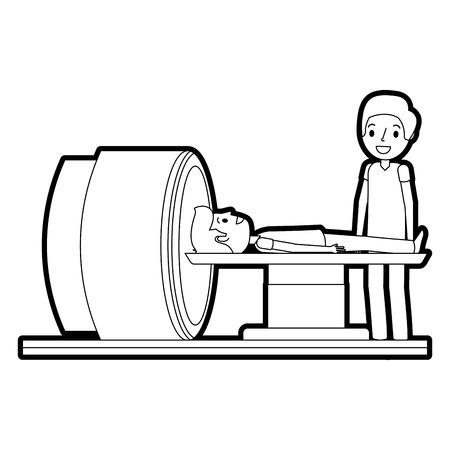 Tomography 스캐너 기계 환자 및 의사 벡터 일러스트와 함께.