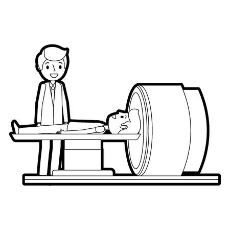 환자와 의사가있는 Tomography 스캐너 기계 일러스트