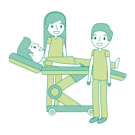 dental stretcher with patient and professional medical vector illustration Vettoriali