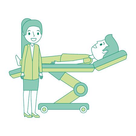 Dental Bahre mit Patienten und professionelle medizinische Vektor-Illustration Standard-Bild - 92524711