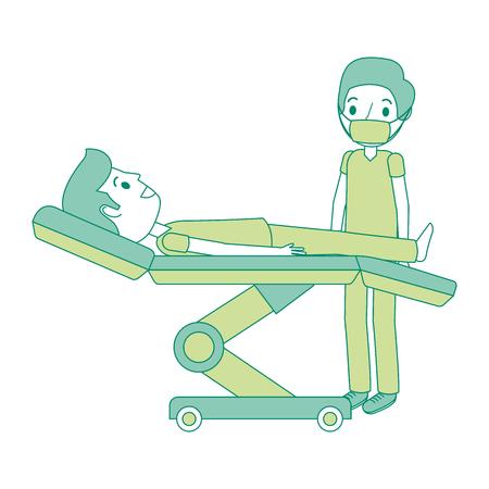 Dental Bahre mit Patienten und professionelle medizinische Vektor-Illustration Standard-Bild - 92524716