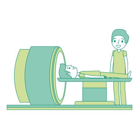 Macchina dell'analizzatore di tomografia con l'illustrazione di vettore di medico e del paziente. Archivio Fotografico - 92553309