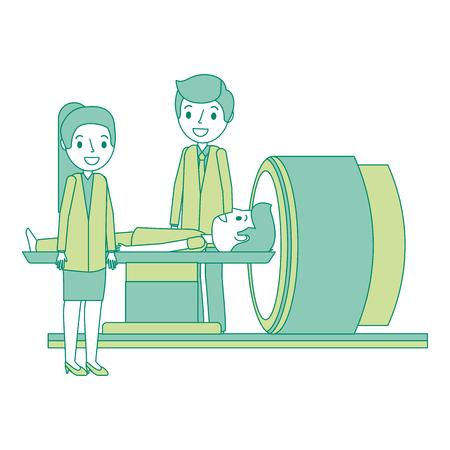 Tomodensitomètre avec illustration vectorielle patient et médecin Banque d'images - 92553305