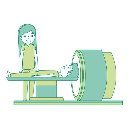 患者および医者のベクターイラストが付いている断層撮影のスキャナー機械。