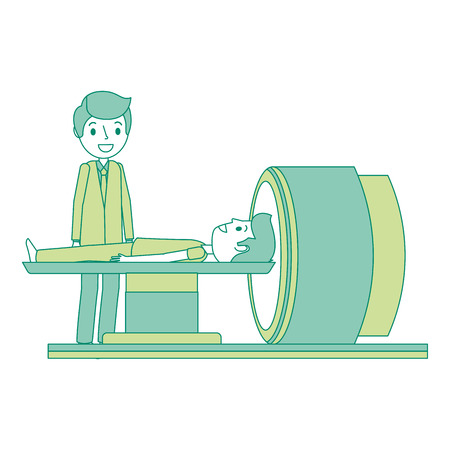 Tomography scanner machine with patient and doctor vector illustration.