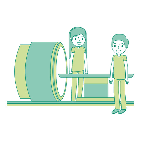 Tomography scanner machine with medical professional vector illustration.