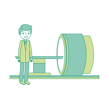 Machine de scanner de tomographie avec illustration vectorielle professionnel médical. Banque d'images - 92553313