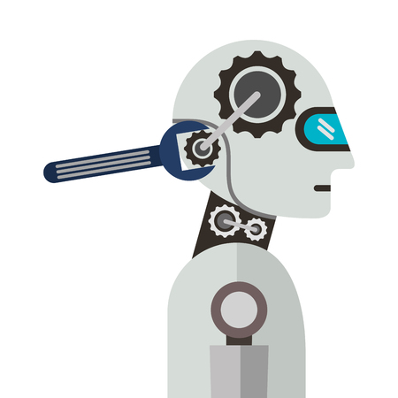 Humanoid robot profile with wrench vector illustration design Illustration