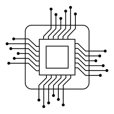프로세서 회로 고립 된 아이콘 벡터 일러스트 레이 션 디자인.